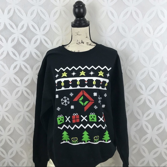 9aa59cd1 Gildan Tops | Ugly Christmas 8bit Minecraft Mario Sweatshirt | Poshmark